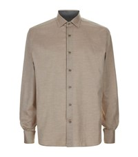 Corneliani Brushed Cotton Twill Shirt Male Beige