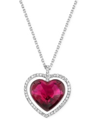 Swarovski Rhodium Plated Red Crystal Heart Pendant Necklace Silver