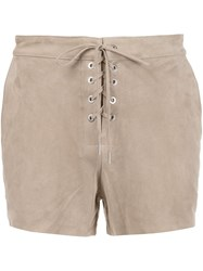 Rag And Bone Jean Lace Up Front Shorts Nude And Neutrals