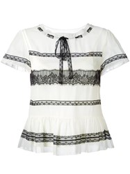 Red Valentino Lace Insert Shortsleeved Blouse Nude Neutrals