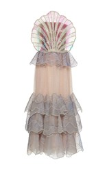 Sandra Mansour Coquillage Tulle Embroidered Long Dress Purple Pink Gold