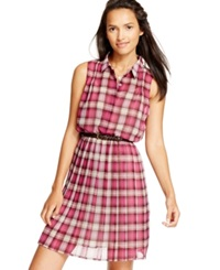 American Rag Printed Point Collar Pleated Dress Only At Macy's Very Berry Plaid
