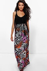 Boohoo Tropical Palm Print Floor Sweeping Maxi Skirt Multi