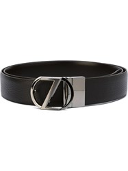 Z Zegna Metallic Logo Buckle Belt Brown