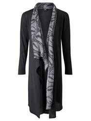 Crea Concept Longline Printed Silk Trim Cardigan Grey Black