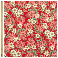 John Lewis Christmas Poinsettia Fabric Red