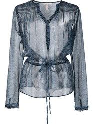 Rebecca Taylor Sheer Blouse Blue