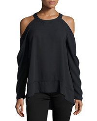 Marled By Reunited Clothing Long Sleeve Cold Shoulder Blouse Black
