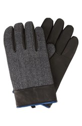 Men's Original Penguin Herringbone Gloves With Leather Black