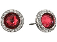 Rebecca Minkoff Crystal Halo Stud Earrings Rhodium Ruby Earring Red