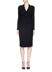 Armani Collezioni Surplice Neckline Stretch Crepe Dress Black