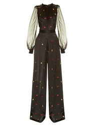 Alexander Mcqueen Obsession Fil Coupe Wide Leg Jumpsuit Black Multi