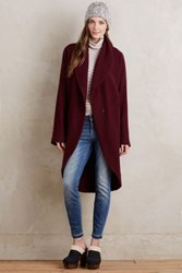 Anthropologie Windsor Boiled Wool Sweater Coat Wine