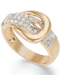 Victoria Townsend 18K Rose Or Yellow Gold Over Sterling Silver Diamond Buckle Ring 1 4 Ct. T.W.