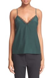 The Kooples Lace Trim Crepe De Chine Camisole Green