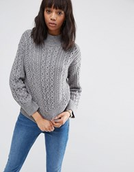 Asos Jumper With Cable Stitch And High Neck Mid Grey