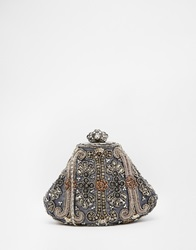 Moyna Clutch In Grey With Hand Beading Embellishment And Shoulder Chain Strap Multi