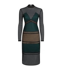 Self Portrait Forest Fitted Mesh Dress Female Green