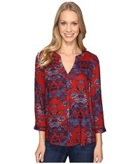 Lucky Brand Vintage Print Top Red Multi Women's Clothing