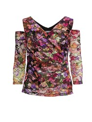 Gina Bacconi Cutout Shoulder Stained Glass Lace Top Multi Coloured