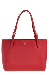 Tory Burch 'Small York' Saffiano Leather Buckle Tote Red Kir Royale