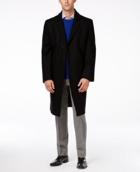 London Fog Signature Wool Blend Overcoat Black