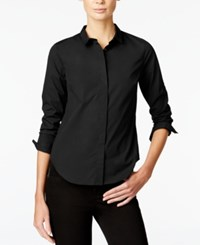 Armani Exchange Long Sleeve Button Down Shirt Solid Black