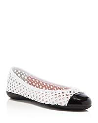 Paul Mayer Brandy Perforated Ballet Flats Black White
