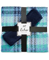 Echo Plaid Scarf And Boucle Headband Gift Set Navy