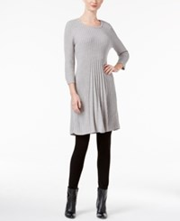 Ny Collection Petite Ribbed Fit And Flare Sweater Dress Pewter Heather
