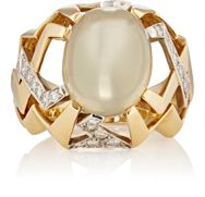 Mahnaz Collection Vintage Women's White Diamond And Moonstone Cabochon R Colorless