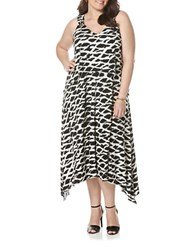 Rafaella Plus Plus Hatch Tie Dyed Layered Asymmetrical Dress Black