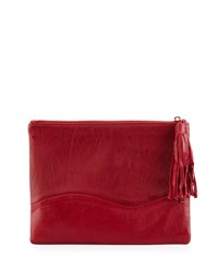 Winnie Leather Evening Clutch Bag Red Lauren Merkin