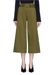 Nicholas Belted Pintuck Culottes Green