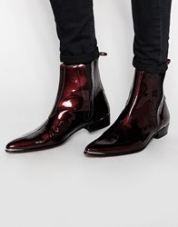 Jeffery West Leather Patent Chelsea Boots Red