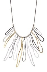14K Yellow Gold Plated And Sterling Silver Tricolor Hammered Fringe Bib Necklace Metallic