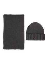 Tommy Hilfiger Cotton And Cashmere Scarf And Beanie Charcoal