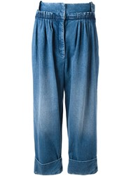 J.W.Anderson Straight Fit Pleated Denim Trousers Blue