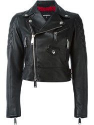 Dsquared2 Cropped Biker Jacket Black