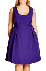 City Chic Plus Size Women's Corset Side Fit And Flare Dress Royalty