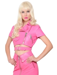Moschino Short Sleeve Cropped Leather Jacket Pink