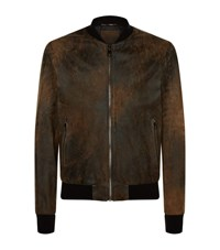 Dolce And Gabbana Textured Leather Bomber Jacket Male Brown