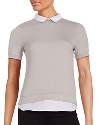 French Connection Mock Layered Short Sleeve Sweater Grey