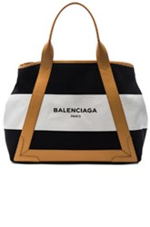 Balenciaga Medium Navy Canvas In Black White Stripes