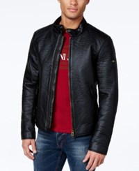 Armani Jeans Distressed Faux Leather Jacket Solid Black