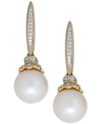 Honora Style Freshwater Pearl 9Mm And Diamond 1 10 Ct. T.W. Drop Earrings In 14K Gold Yellow Gold