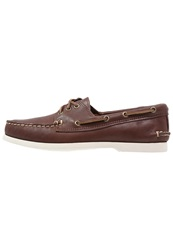 Quoddy Downeast Boat Shoes Dark Brown White