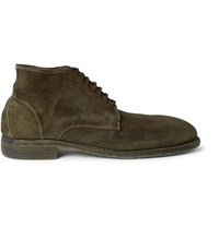 Guidi Distressed Suede Boots Green