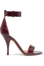 Givenchy Sandals In Burgundy Croc Effect Leather Claret