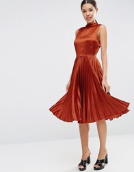 Asos Sleeveless Pleated Midi Dress In Satin With High Neck Tan Brown